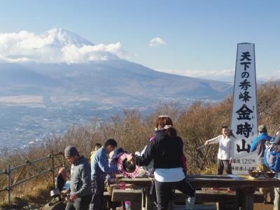 明日は快晴!急に誘われ、富士山が絶景の金時山へ