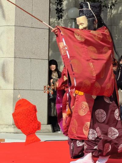 東博初詣-4 《獅子舞》 恵比寿の舞 ☆赤い鯛を釣り上げ豊漁祈願