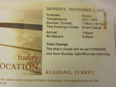 11:VeniceからRomeまでの前泊2日+28日の船旅★Mon Nov 2 KUSADASI,TURKEY ★