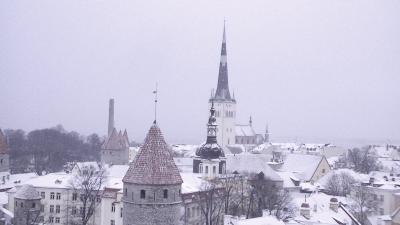 北欧とタリンの旅(8) 雪のタリンも素敵!! でもデジカメは寒くて時々冬眠
