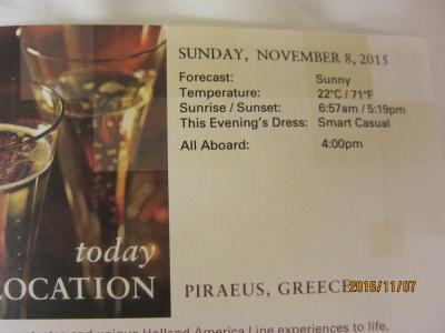 17.VeniceからRomeまでの前泊2日+28日の船旅★Sun Nov 8 Athens (Piraeus), Greece ★