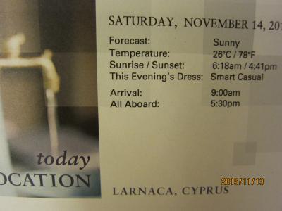 23.VeniceからRomeまでの前泊2日+28日の船旅★Sat Nov 14 LARNACA, CYPRUS ★