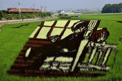 手塚治虫先生の名物キャラ達が共演する小山市の「おやま田んぼアート」を見に訪れてみた