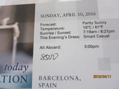 A.2.Barcelona発着の7日の船旅★Sun Apr 10 Barcelona, Spain出航