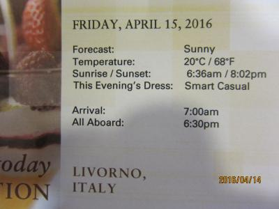 A.6.Barcelona発着の7日の船旅★Fri Apr 15 Florence / Pisa (Livorno), Italy