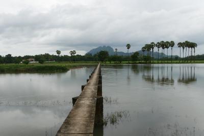 ミャンマー3日目、パアン郊外の田んぼは水浸し…