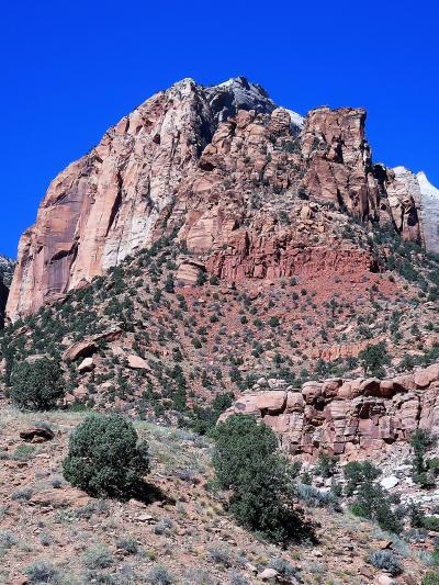 アメリカ西部09 ザイオン;ウエストテンプルの岩峰群は圧巻 ☆ビジターセンター裏の眺望