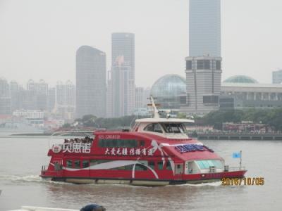 上海の黄浦江・渡し舟・東金線・2016年国慶節