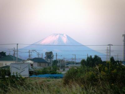 早朝散歩・・・朝散歩コースでみられた富士山の雪をかぶった様変わりの顔に・・・