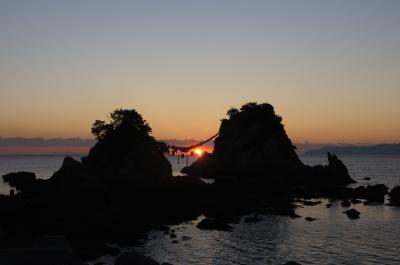 豊後二見ヶ浦で年賀状用の日の出を撮る
