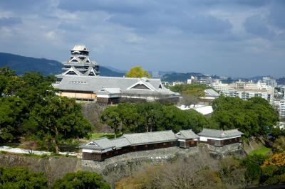 2016.11熊本出張旅行3-昼間の熊本城2 二の丸公園 城見櫓,市役所からの眺め 和食仲むらで昼食 帰京