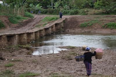 20170104 ルアンナムター 博物館 → 竹?木?の橋渡って、泥濘の中で村散歩