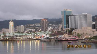 陰陽道クルーズ帰港 Honolulu湾:  動画挿入 ハワイ四島クルーズ プライド・オブ・アメリカ号 2016 12 24