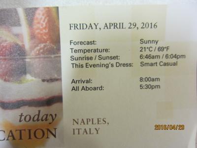 C.5.BarcelonaからVeniceまでの24日間の船旅★Fri Apr 29 Naples (Capri), Italy