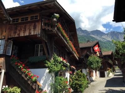 2016年6月スイス-7 個性あふれる家々が並ぶブリエンツの散策とアーレ川の鉄橋