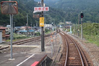 一軒宿の笹倉温泉に宿泊し、大糸線の普通列車で景色を楽しみながらの帰り道。