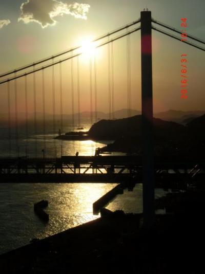 瀬戸大橋と夕日とプライベートビーチで