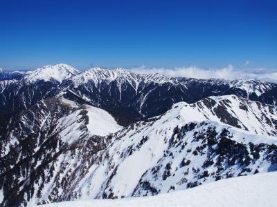 残雪期塩見岳 / 女峰、黒戸、高尾(笑)の修験の成果をここに示さん