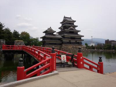 松本城と三つ峠からの富士山