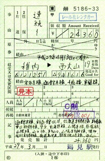 日本縦断スペシャル2017 (東日本編)・その7.日本縦断きっぷ (稚内→西大山)で東京へ。