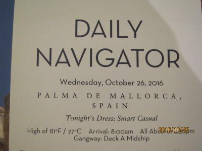 D7.CivitavecchiaからFort Lauderdaleまで16日間の船旅★3. Wednesday - Oct 26, 2016Palma de Mallorca,Spain