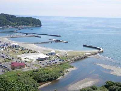 豊浦町の噴火湾展望台とインディアン水車