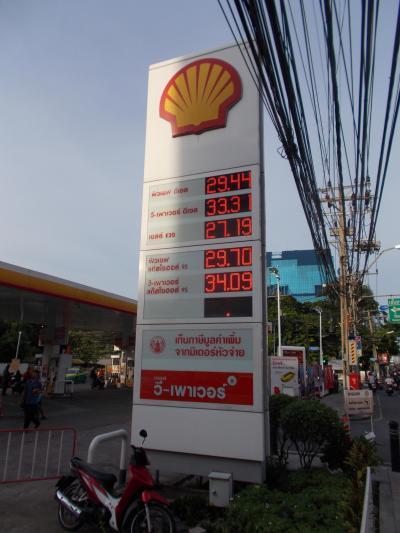 まもなく大台8桁 バンコク旅。。バンコク 定点観測15年目・サトーン通りの ガソリン単価(28の1)