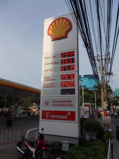 BANGKOK 旅 まもなく大台8桁。。BANGKOK 定点観測15年目・・サトーン通りの ガソリン単価(28の1)