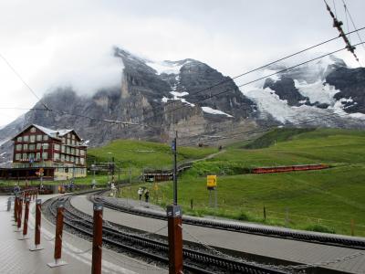 2017年7月 スイス7日目 その2 雨の中クライネ・シャディック周辺の散歩 山頂はガスがかかっていました