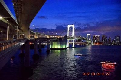 【東京散策66-2】 秋晴れのレインボーブリッジを歩く(ノースルート夜編)