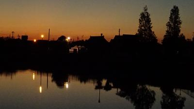 早朝散歩 鴻池第一公園 久しぶりに日の出を見ました 上巻。