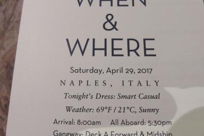 29  泊Konigsdam , ★11★Saturday, April 29Naples (Capri), Italy