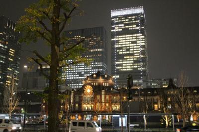 イルミネーションが輝く季節、東京丸の内仲通と丸ビルのツリー、行幸地下通路で写真ポスターを見る。