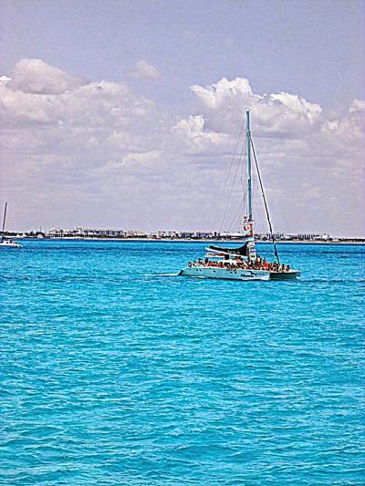カリブ海 イスラムへ―レス島1.           Isla Mujeres- Caribbean Sea。