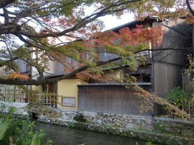 祇園白川巽橋周辺を散策。外国人の「自撮り」の人ばかりで,しらけきったムードだった。