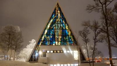 紫微斗数 オーロラ 4K 動画有 北極教会 ノルウェー・トロムソ Arctic Cathedral Ishavskatedralen