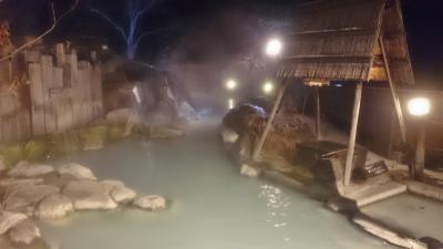 福島県 猪苗代と高湯温泉 (6-5) 安達屋旅館 夜の混浴大露天風呂