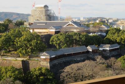 2017暮、南九州の名城巡り(26/26):12月14日(10):熊本城(4/4):堀、水鳥、展望台からの見学、清正公像、駅のくまもん