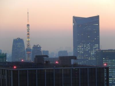 冬至の日に丸の内ビル36階から見られた夕景色