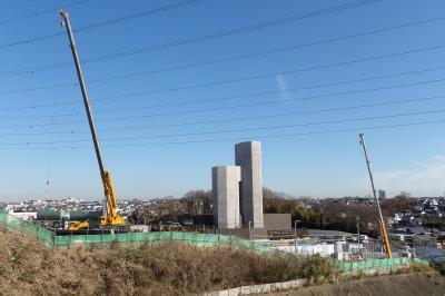 法隆寺裏の高速道路関連工事