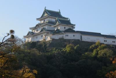 2017暮、大阪湾の名城巡り(29/42):12月7日(2):和歌山城(2/7):和歌山城へ、お堀の外から名和歌山城、一の門