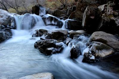 ◆寒風氷結の山鶏滝渓谷