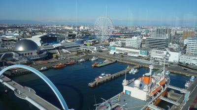 クルーズ船に乗りに名古屋港ガーデン埠頭へ。時間があったので,名古屋港ポートビルに上りました。