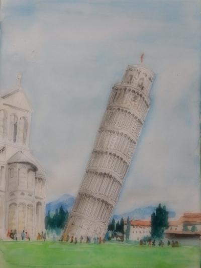 写真でよく見た斜塔が目のまえに  ピサの斜塔
