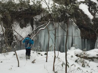 429-地元の知られざる秘境?室蘭岳、滝が凍った!「すだれの滝」