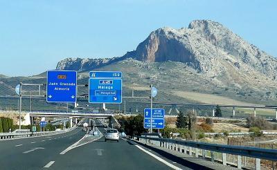 2017.12アンダルシアドライブ旅行26-SevillaからMijasへ,A-92,A‐45でMalaga近郊まで