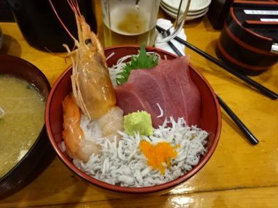 小田原駅前魚河岸でんの海鮮丼と小田原城