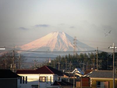 早朝ウォーキングコースから見られる関東平野を取り巻く山々を見ながら歩く
