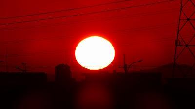 早朝散歩 宝塚市安倉上の池の朝日。