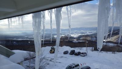 七滝氷瀑と鞍掛山
